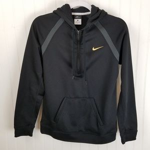 NIKE Black Therma-Fit Hoodie with Gold Swoosh